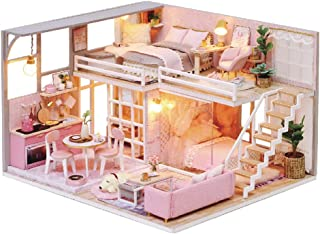CUTEBEE Dollhouse Miniature with Furniture, DIY Dollhouse Kit Plus Dust Proof and Music Movement, 1:24 Scale Creative Room Idea (Girlish Dream)