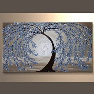 EZON-CH Modern Art Hand-Painted Abstract Light Blue Willow Tree Oil Paintings on Canvas Stretched and Framed Painting For Home