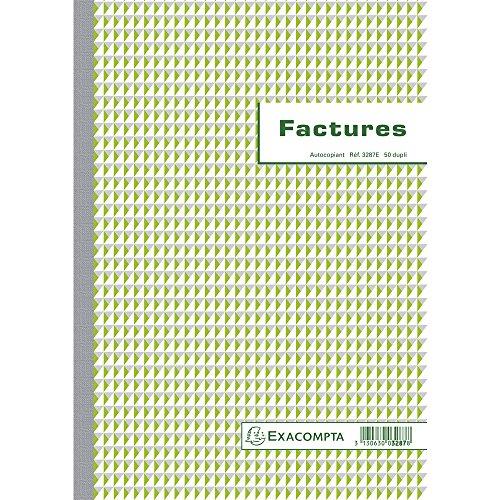 Exacompta 3287E Manifold Factures 21 x 29,7 cm avec mention TVA 50 feuillets Dupli autocopiants