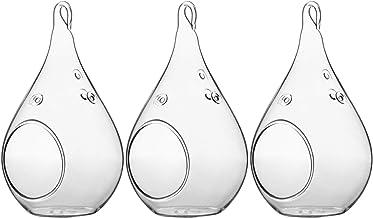 WGV – Suporte de velas de vidro para pendurar na planta, volume de terrário, largura 7,6 cm, altura 14 cm, lágrima faça vo...