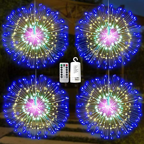Joiedomi 4Packs Firework Copper Wire Hanging 200 LED Starburst Lights Waterproof for Christmas Home Party Wedding Garden Xmas Patio Bedroom Décor Indoor Outdoor Decorations