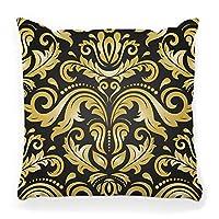 装飾的な投球枕カバースクエア18x18メディニラホワイトピンクブルーミングブロッサムブランチシックなコレクション構成装飾デザイナー家の装飾ジッパー付き枕カバーブラック45