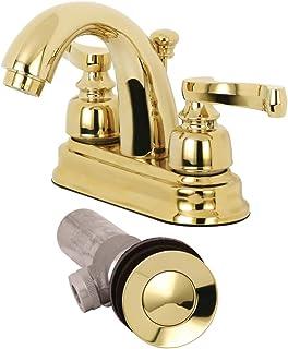 Kingston Brass KB5612FLB 4-Inch Centerset Bathroom Faucet Pop-Up, Polished Brass