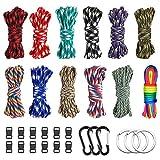 Cuerda de paracaídas 550 multifunción de 12 colores, 10 pies, cuerda de paracaídas para tienda de campaña, cuerda de paracaídas para supervivencia al aire libre, brida de mono, cordones