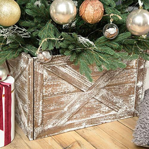 Hallops Wooden Tree Collar Box - Christmas Tree Farmhouse Rustic Decor. Vintage Weathered Wood Decoration.
