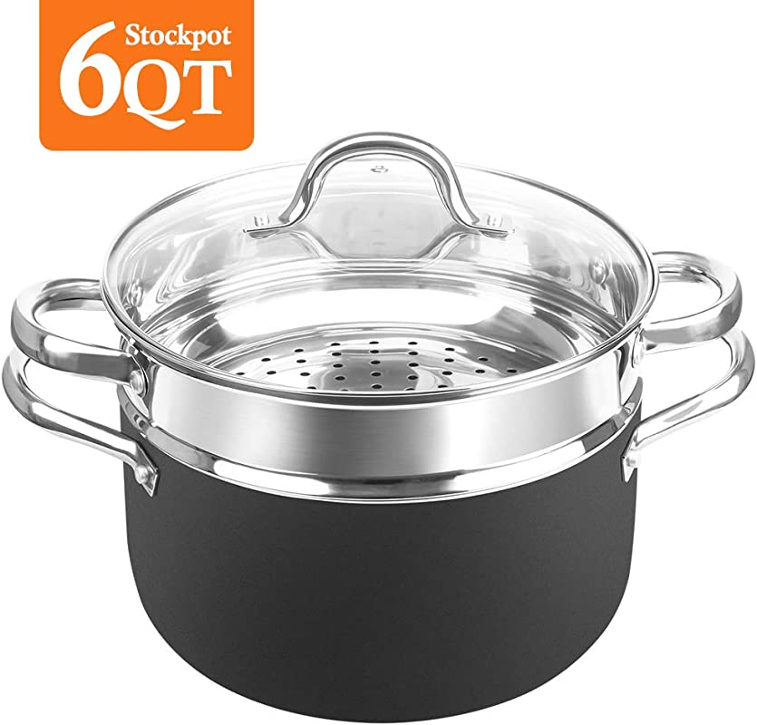 SHINEURI 6 Quart Nonstick Copper Stockpot With Lid Deep Stock Pot With Stainless Steel Steamer Inset Perfect For Soup Stew Roast Pasta Sauce Suitable For Induction Gas Electric Stovetops