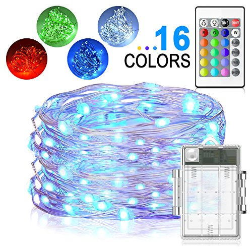 LED String Lights, Yoozon 16ft 50 LEDs Fairy Lights Battery Operated Waterproof 16 Colors Outdoor String Lights with Remote Control LED Lights for Bedroom, Corridor, Patio, Garden, Yard, Photo Frame