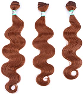 """Hairpieces Hairpieces 30# Yellow Brown Hair Weave Full Head (16"""" 18"""" 20"""")-Synthetic Body Wave 3 Bundles Hair Extensions for Daily Use and Party (Color : Brown, Size : 20""""-20""""-20"""")"""