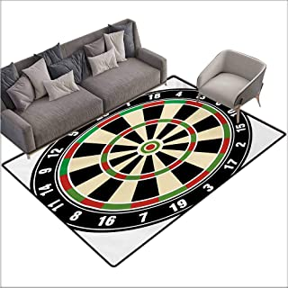 Anti-Static Rug Sports Dart Board Numbers Sports Accuracy Precision Target Leisure Time Graphic Super Absorbent mud W70 xL106 Vermilion Green Black