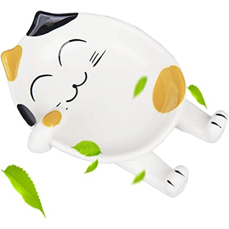 TOP-HILL spoon rests, cute ceramic cat spoon rest, spoon rests for kitchen, cat kitchen accessories, spoon holder stove top rest for kichen counter (Yellow)
