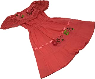 Mexican Dress Child Costume Fiesta Mexicana Theme Party, Dress Hippie Size 2 Color Coral