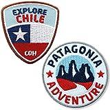 Club of Heroes 2er-Set Chile + Patagonien Aufnäher gestickt 60 mm/Südamerika Chile Flagge Trekking Wandern Torres del Paine/Patch Patches Aufbügler Flicken Bügelbild/Reise Reiseführer