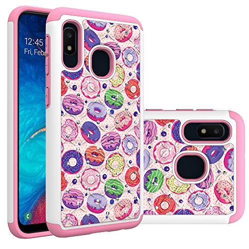 Samsung Galaxy A10e Case, Galaxy A20e Case for Girls Women, Rainbow Donut Heavy Duty Shockproof Studded Rhinestone Crystal Bling Hybrid Case Silicone Protective Armor for Samsung Galaxy A10e