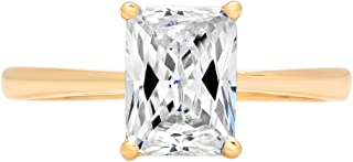2.0 ct Brilliant Emerald Cut Solitaire Highest Quality Moissanite Ideal VVS1 D 4-Prong Engagement Wedding Bridal Promise Anniversary Ring in Solid Real 14k Yellow Gold for Women