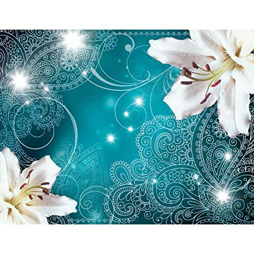 Fototapete Lilien Blumen Ornament 352 x 250 cm Vlies Tapeten Wandtapete XXL Moderne Wanddeko Wohnzimmer Schlafzimmer Büro Flur Türkis 9197011a