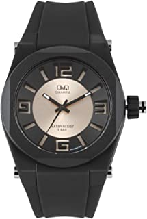 Q&Q Men's Black Dial Rubber Band Watch - VR32J002Y