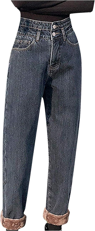 Kexle Women's Jeans Women Fashion Jeans Winter Warm Casual Print Jeans Plus Size Trousers Daily Wear Best Gifts for Women