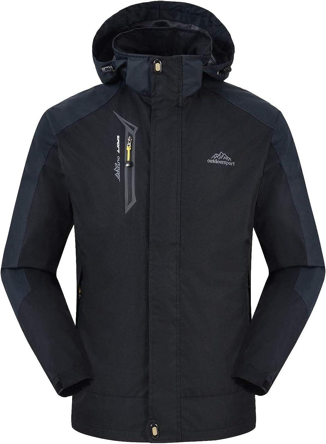 Rdruko Men's Hiking Jacket Waterproof Windproof Casual Outdoor Softshell Raincoat Sportswear Hooded