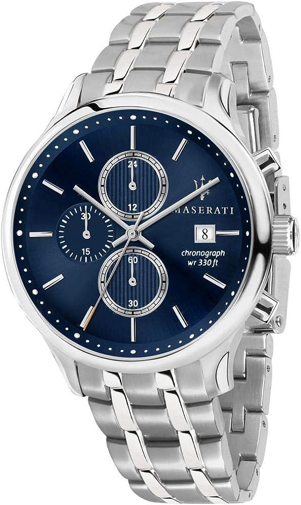 Maserati orologio da uomo, collezione gentleman funzione cronografo, in acciaio 8033288837619