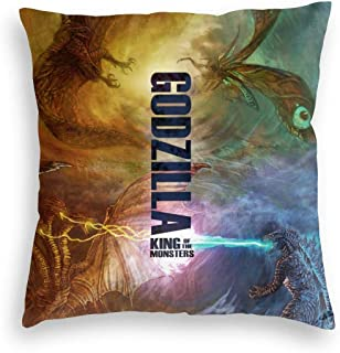 Super Soft Velvet Square Pillow Covers for Hair And Skin, Godzilla And Mothra Vs Ghidorah And Rodan Monsters King, Hipster Zippered Cushion Cases for Autumn Farmhouse Party 20x20 Inch