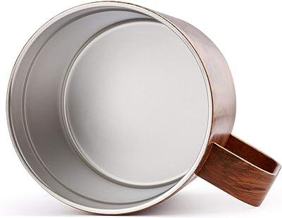 Sivaphe 14 OZ Travel Coffee Mug with Large Handle Stainless Steel Insulated Tumbler Wood Grain