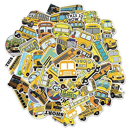 WUWEI No repita la Etiqueta engomada Amarilla de la Pintada del autobús Escolar, Etiqueta engomada del Equipaje de la Taza de Agua del Cuaderno de la computadora Impermeable 50 Uds