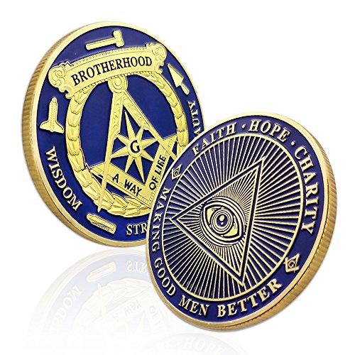 AtSKnSK Blue Lodge Masonic Coin All-Seeing Eye Freemason Master Brotherhood Accessories Gifts