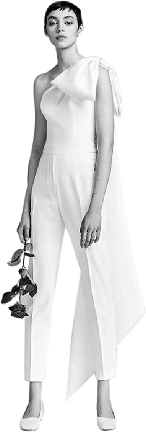 DIOR BELLA White One Shoulder Bow Jumpsuit Pant Suit (XSmall)