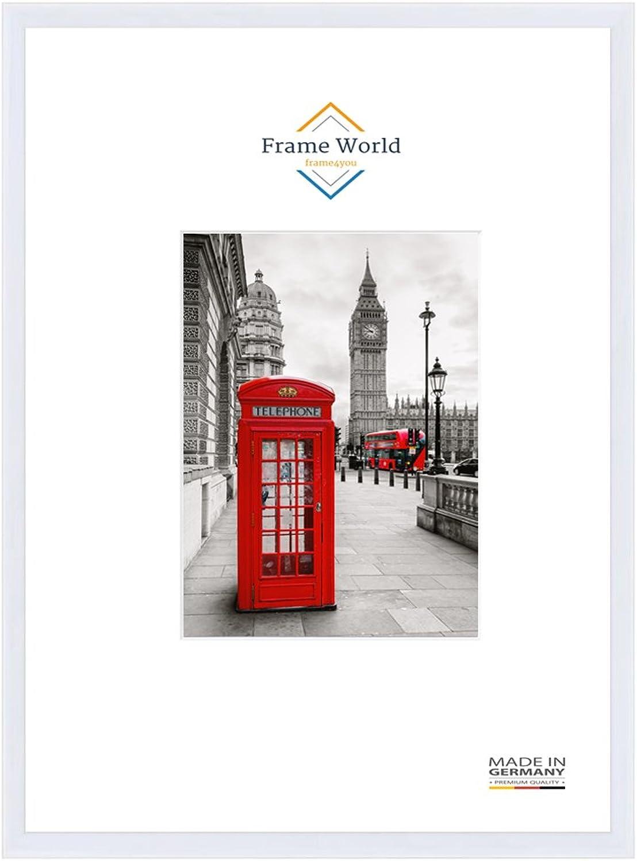 FW23 Echtholz Bilderrahmen DIN A0 für 84,1 cm x 118,9 cm Bilder, Farbe  Wei matt, inkl. entspiegeltem Acrylglas (Antireflex), Rahmen Breite  23 mm, Aussenma  87,5 cm x 122,3 cm