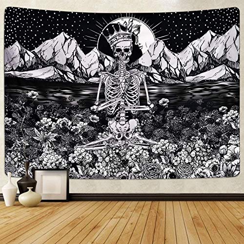 Corona Esqueleto Esqueleto Tapiz de meditación Tapiz psicodélico Estera de yoga Mandala indio Tapiz bohemio Tarot Montado en la pared (Corona Esqueleto Esqueleto Meditación XL / 150x200cm)