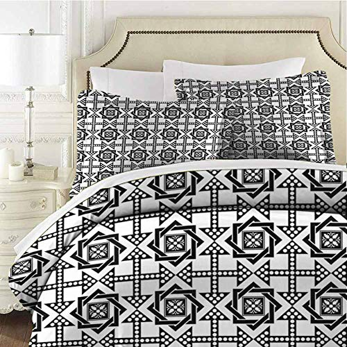 Black and White Bedding 3-Piece Queen Bed Sheets Set,Bedding Set Full All Season Quilt Set Celtic Star Pattern with Arrows Ultra Soft and Breathable Comforter Cover