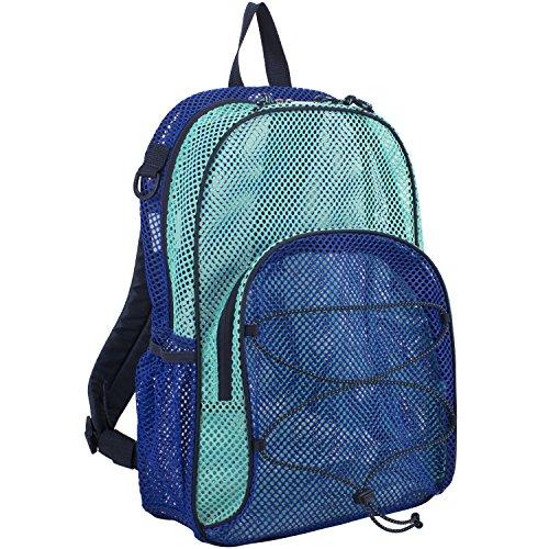 Eastsport Mesh Bungee Backpack With Padded Shoulder Straps, Indigo/Turquoise