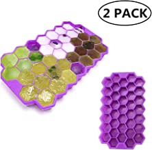 KABB 2 Pack Easy-Release Stackable Flexible Silicone Cube Molds with Spill-Resistant Removable Lid, Totally 74-Ice Trays for Whiskey Storage,Cocktail,Beverages-Purple