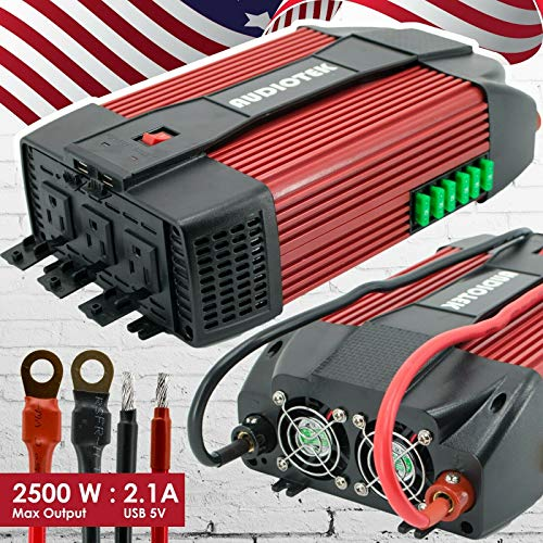 car converters Audiotek 2500W Watt Power Inverter DC 12V AC 110V Car Converter USB Port Charger