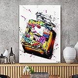 Cuadros decorativos Graffiti Botella de Perfume Moda Decoración para el hogar Pinturas impresas en HD Imagen Arte de la pared Cartel de lienzo modular Fondo moderno junto a la cama 20x28pulgadas