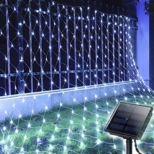 Solar LED String Lights Waterproof 200LEDs Solar String Lights 3x2M Outdoor Lights Curtain 8 Modes Net Mesh Decoration Lights for Christmas Garden Party Wedding Bedroom-White