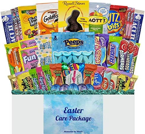 40 CT Easter Basket Care Package with Blue Grass for Teens Adults College Students Men Women product image
