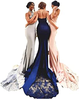 Halter Mermaid Lace Appliques Bridesmaid Dress Backless Formal Evening Party Gowns Prom Dresses
