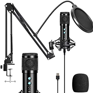PC Microphone, USB Condenser Microphone, Professional Recording Plug and Play Microphone Kit with Stand for Computer Lapto...