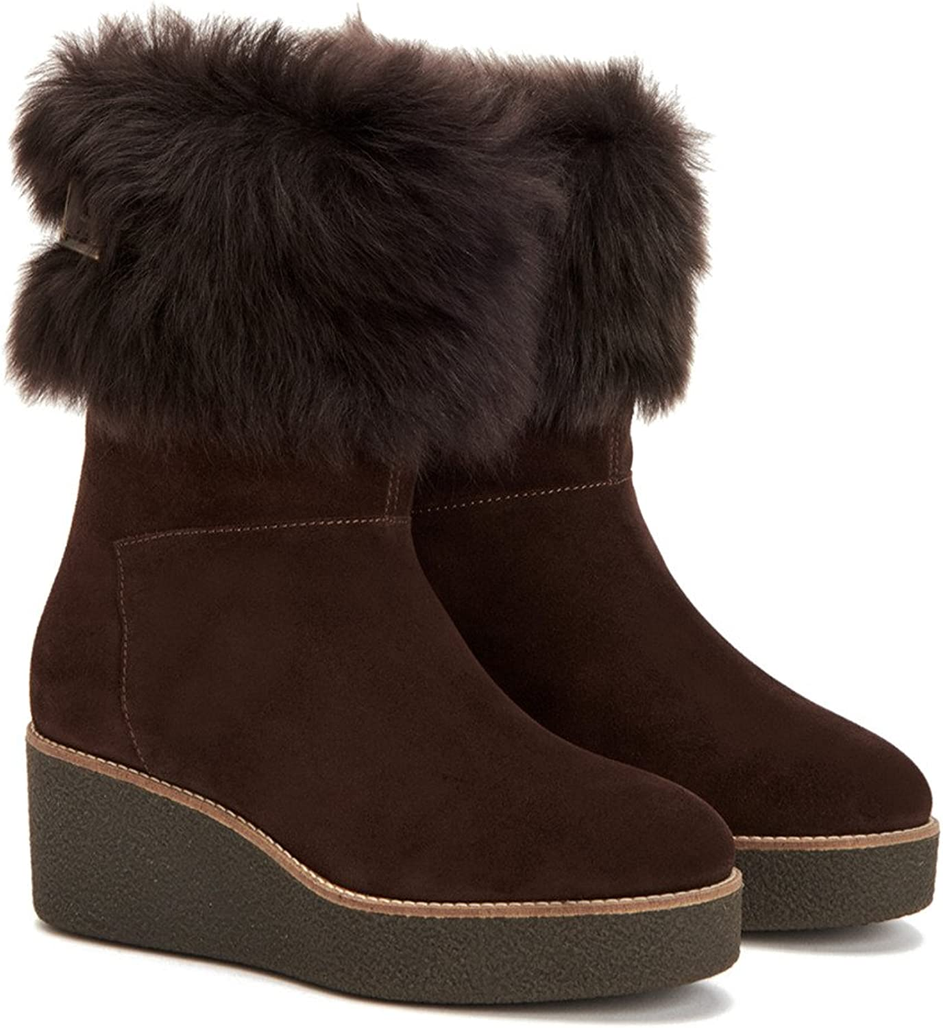 Aquatalia Women's Vallaine Suede Shearling Ankle Boot