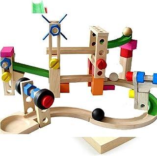 TOYMYTOY 玉転がし ビーズコースター 木製おもちゃ スロープ 木のおもちゃ 積み木 ブロック 立体 迷路 知育玩具 子供 幼児 学生 色がランダム