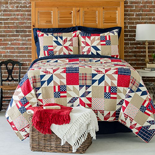 C&F Home Levi Red White & Blue Cotton 3 Piece Full/Queen Quilt Set Patriotic American Flag Machine Washable Bedspread Coverlet Full/Queen 3 Piece Set Red