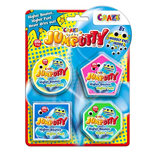 CRAZE JUMPUTTY Springknete Hüpfknete Bunte Kinderknete Knetmasse 4X 15 g Jump Knete Kinderparty Mitgebsel 21200 Plastilina Colorata, 4 x 15 g, per Feste di Bambini, 4 Colori