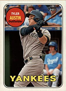 2018 Topps Heritage High Number Variations #696 Tyler Austin Action Short Print MLB Baseball Trading Card