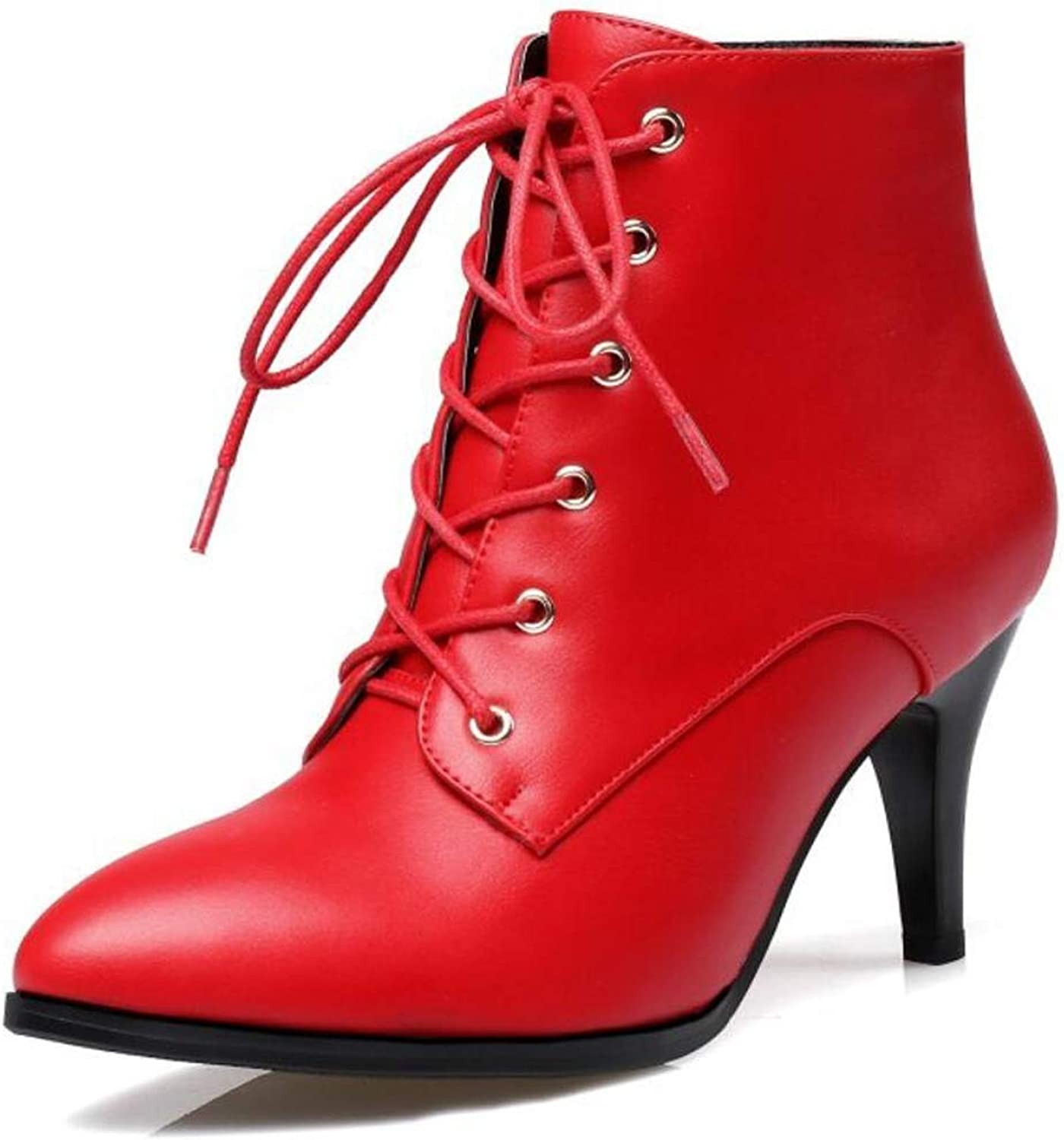Ladies High Heel shoes Lace Up Stiletto Heel Ankle Boots Sring Fall Pointed Toe shoes for 2019 New