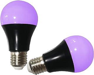 UV LED Black Light Bulbs 2 Pack, A19 E26 Blacklight Bulb for Glow in The Dark, UVA Level 385-400nm, Blacklight Light Bulbs...