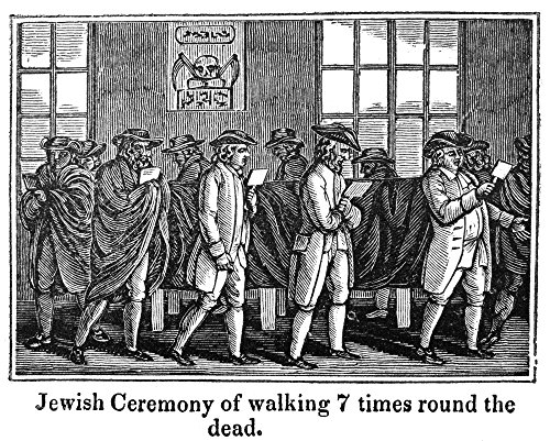 Jewish Ceremony NJewish Ceremony Of Walking 7 Times Around The Dead Wood Engraving American Early 19Th Century Poster Print by (18 x 24)