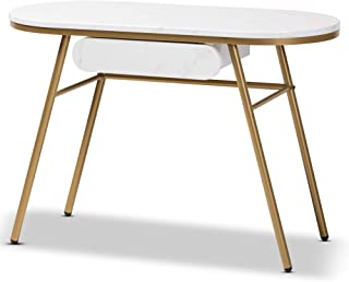 Baxton Studio Console Table, White/gold