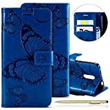 Herbests Kompatibel mit Leder Handy Schutzhülle Xiaomi Redmi Note 4 Lederhülle Schmetterling Muster Leder Handyhülle Handytasche Brieftasche Ledertasche Bookstyle Flip Hülle Cover Klapphülle,Blau
