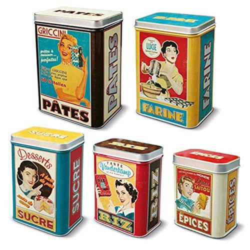 5Scatole metalicas Vintage per spezie riso Zucchero Farina e pasta 2111567071
